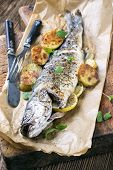stock photo of bass fish  - fish grilled - JPG
