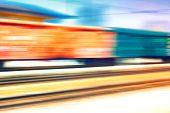 stock photo of passenger train  - Freight and passenger trains at speeds - JPG