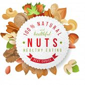 picture of pecan nut  - Paper nuts label with type design and nuts - JPG