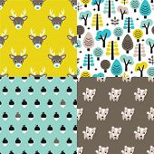 foto of badger  - Seamless animals badger deer scandinavian style woodland theme kids background pattern for boys in vector - JPG