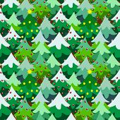 pic of christmas theme  - Christmas theme pine tree forest seamless pattern background cartoon style - JPG