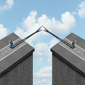 stock photo of gap  - Business solution concept as a metaphor to overcome problems as bridging the gap between two financial partners as cast shadows overcoming obstacles to join together - JPG