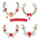 picture of christmas flower  - Colorful Christmas banners and laurels with flowers - JPG