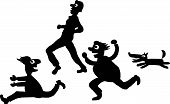 picture of rabies  - People running away from dogs vector file - JPG