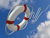 image of life-boat  - flying life preserver for first help conceptual - JPG