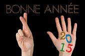 picture of bonnes  - Hands against glittering bonne annee - JPG