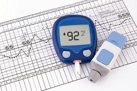 stock photo of pregnancy test  - Testing blood glucose level - JPG