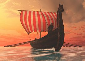 picture of raider  - A Viking longboat sails to new shores for trading and companionship - JPG