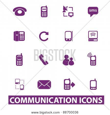 communication, connection, phone icons, signs, illustrations set, vector