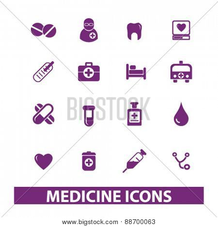 medicine, hospital, doctor icons, signs, illustrations set, vector