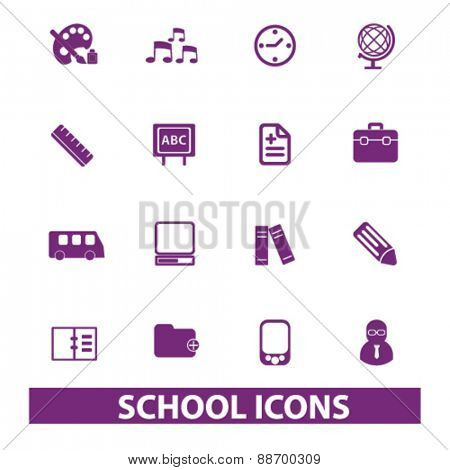 school, education, study icons, signs, illustrations set, vector