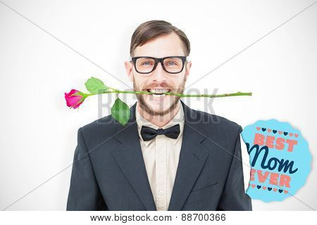 Geeky hipster holding rose between teeth against best mom ever