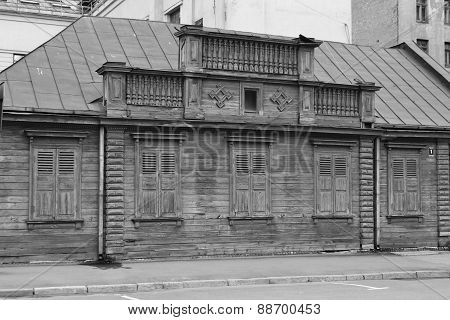 Old Wooden Building In Center Of Riga.