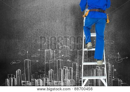 Low section of carpenter climbing step ladder against hand drawn city plan