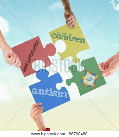 Autism awareness month against blue sky