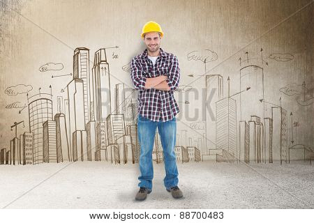 Handome male handyman standing arms crossed against hand drawn city plan
