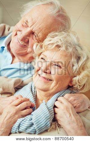 Affectionate grandparents enjoying being together