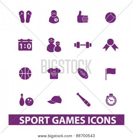 sport, games icons, signs, illustrations set, vector