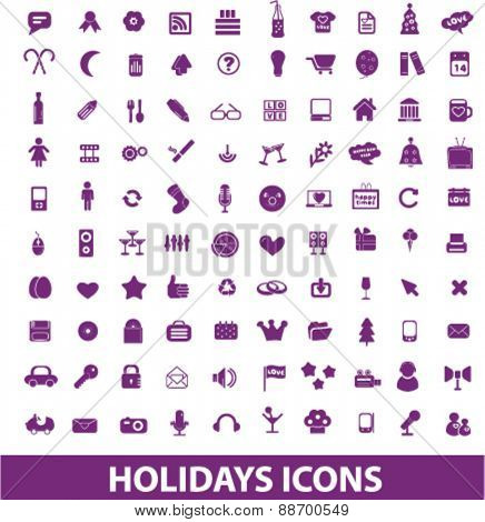 holidays, celebration, party, event, christmas icons, signs, illustrations set, vector