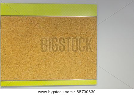 Cork board on a wall with copy space