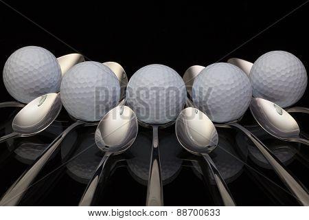Golf Balls And Nine Spoons
