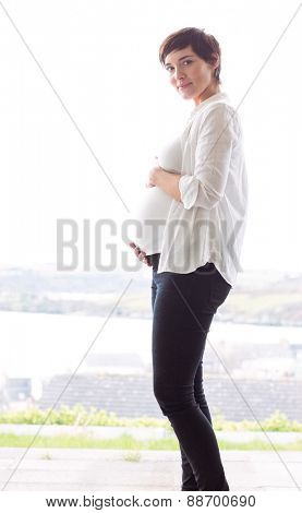Pregnant woman holding her bump at home