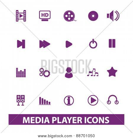 media player icons, signs, illustrations set, vector
