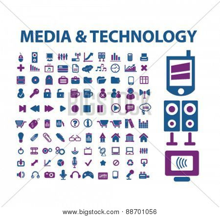 media, technology, phone, communication, mobile icons, signs, illustrations set, vector