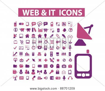 web, internet, information technology, website icons, signs, illustrations set, vector