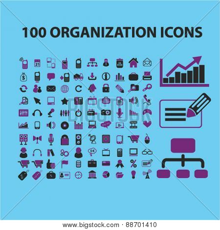 100 organization, management, presentation icons, signs, illustrations set, vector