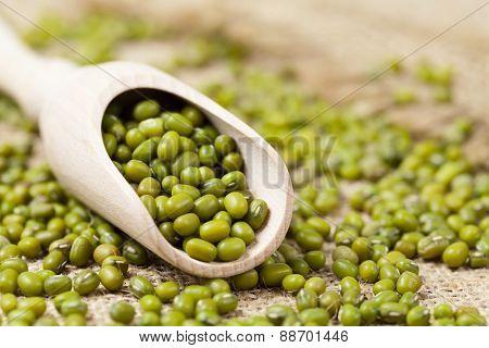 Mung beans healthy vegetarian super foods ingredient in spoon