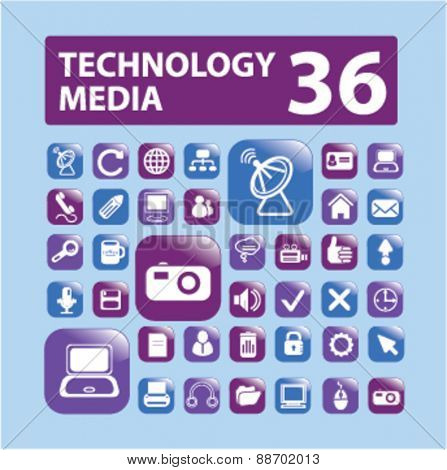 technology, media, communication icons, signs, illustrations set, vector