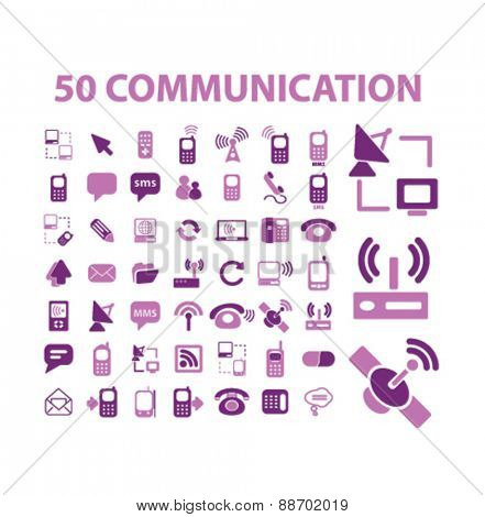 50 communication, connection, technology icons, signs, illustrations set, vector