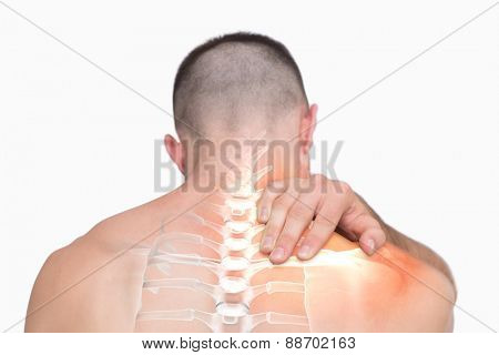 Digital composite of Highlighted shoulder pain of man