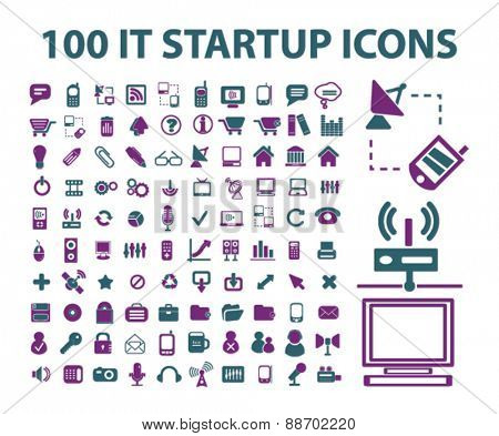 internet technology, communication icons, signs, illustations set, vector for web, mobile application