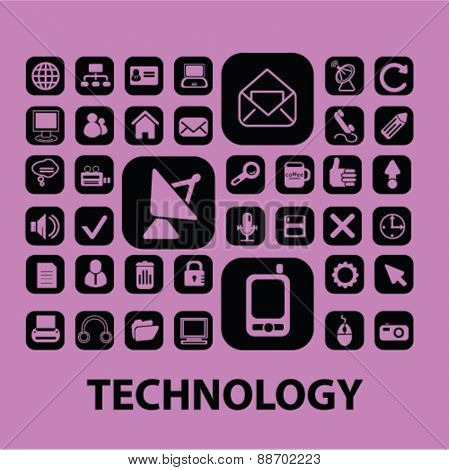 mail, connection, communication technology buttons, icons, signs, illustations set, vector for web, mobile application