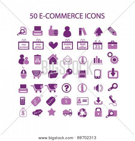 ecommerce, internet store, shop, retail, commerce icons, signs, illustrations set, vector