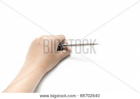 Left Hand Holding Screwdriver