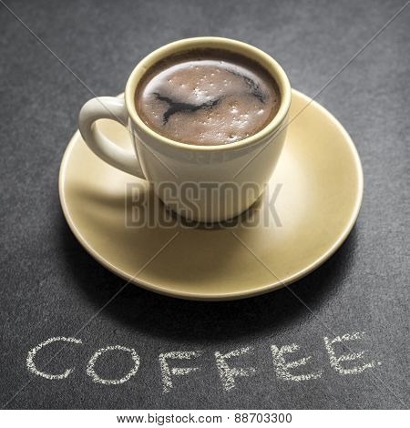 Cup Of Fresh Coffee On Table