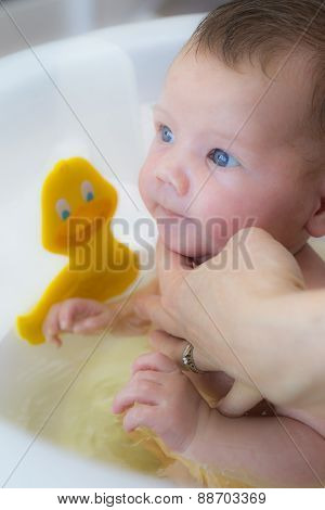 Baby Boy Bath With His Mother
