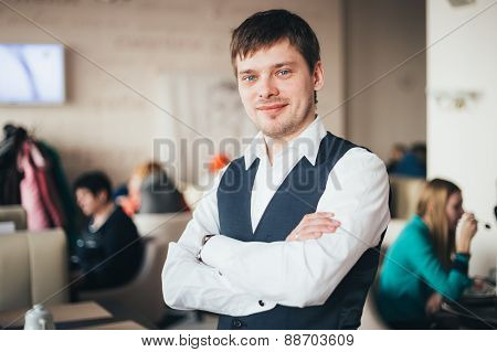 Handsome Caucasian Man Staying In Cafe