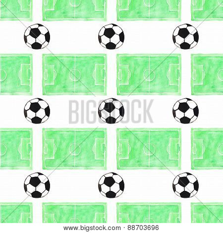 Watercolor seamless pattern with ball and football field on the white background, aquarelle. Vector
