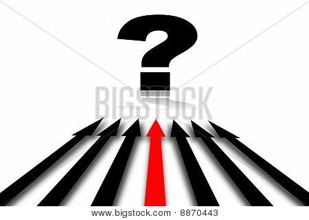 abstract background with arrow pointing a question mark