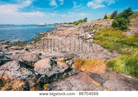 Rocky Seashore Landscape Near Helsinki, Nature Of Finland