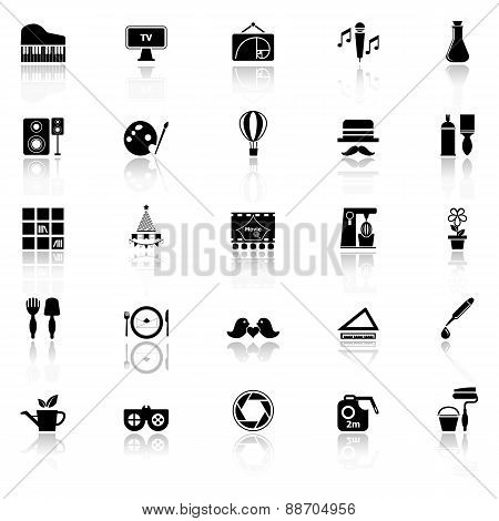 Art Activity Icons With Reflect On White Background