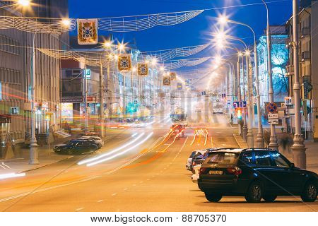 Speed Traffic - Light Trails On City Road At Night