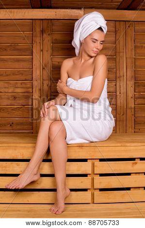 Relaxing In Sauna.