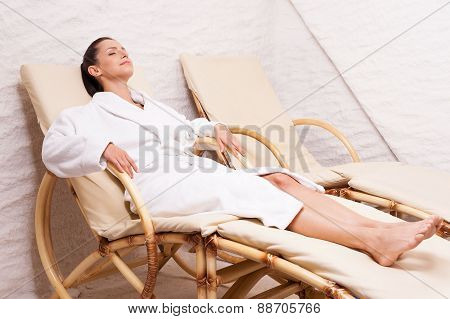 Woman In Salt Room.