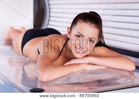 Beautiful Woman In Solarium.