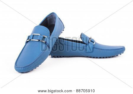 Blue Male Leather Loafers Pair Isolated On White Background